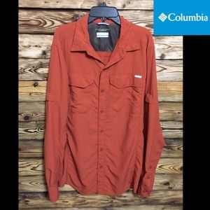 Men's Columbia Omni Shade Burnt Orange Button Up